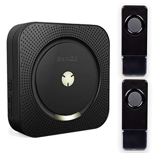 Skaize XQ12 Funk Tür-Gong Kabellose Türklingel Türglocke Set mit 2 Klingeltaster (Erweiterbar, 110db laut, Wasserdicht, Bis 300m Reichweite, Schwarz)