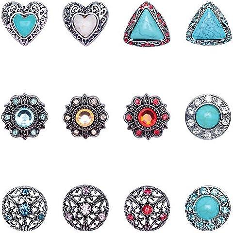 Soleebee Rhinestone de la aleación de la turquesa Snap Charms Botones de joyería de bricolaje Accesorios Paquete de 12 piezas de 18