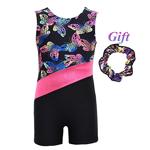 Hougood Hougood Turnanzug Mädchen Gymnastik Leotards Tanzen Ballett Bodysuit Gedruckt Ärmellos Flachen Winkel Overall Kinder Fancy Dance Kostüme Stretch Leotards Alter 3-10 Jahre