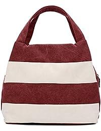 Hiigoo Ladies Handbag Stripes Daily Packages Travel Bag Canvas Bags Shopping Bag Ipad Bag