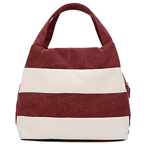 Hiigoo Ladies Handbag Stripes Daily Packages Travel Bag Canvas Bags Shopping Bag Ipad Bag