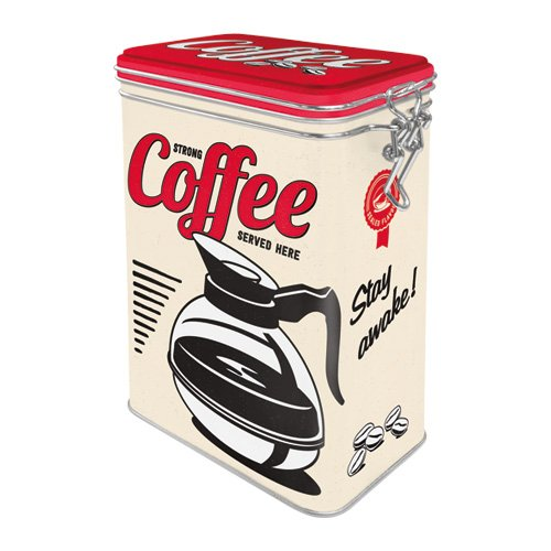 Nostalgic-Art 31105 USA - Strong Coffee Served Here | Retro Aromadose| Blech-Dose | Kaffee-Dose | Aromadeckel | Metall