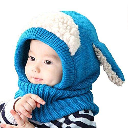 Minetom Bambino Delle Ragazze dei Capretti dei Ragazzi Carina Inverno di Lana Caldo Coif Hood Sciarpa Ricopre i Cappelli ( Blu )