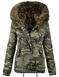 Golden Brands Selection Damen Designer Winter Jacke Camouflage Army Parka  Winterjacke Großes Fell B280 e844e26b29