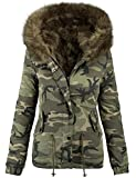 Golden Brands Selection Damen Designer Winter Jacke Camouflage Army Parka Winterjacke großes Fell B280 [B280-Khaki-Gr.36]