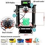 Ridgeyard 220V Acryl Prusa I3 Dual Extruder MK8 3D Drucker DIY Kit MK2A Heatbed DC12V / 0-15A