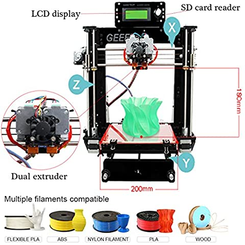 Ridgeyard 220V Acrylique Prusa I3 double Extrudeuse MK8 3D Kit de bricolage de l'imprimante Mk2A heatbed DC12V / 0-15A