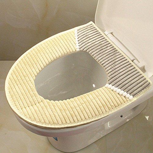 Luniquz WC Sitzbezug warm Toiletten Sitzbezug Waschbar Toilette Sitz Abdeckung Toilet Seat Cover für Universal Toilettensitz - beige