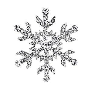 EVER FAITH® österreichischen Kristall Schneeflocke elegant Weihnachten Brosche Klar Silber-Ton A11452-1