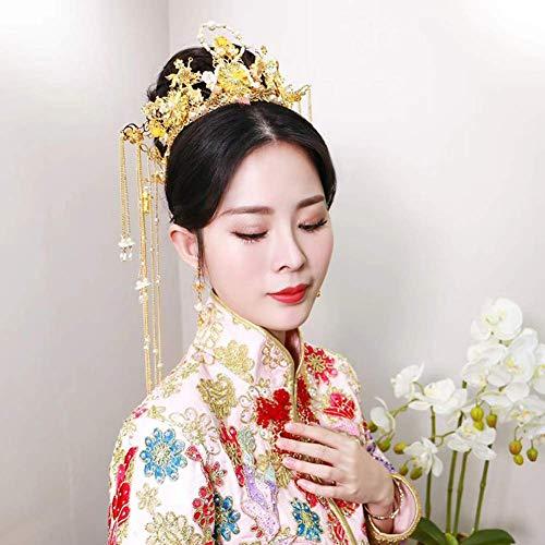Ogquaton Hochzeit Kopfschmuck Retro Goldfisch Perlen Haar Phoenix Krone
