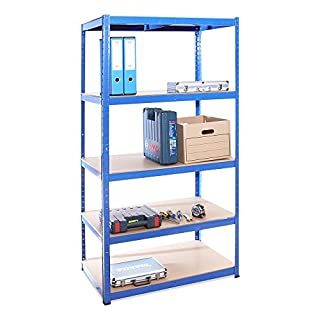 Garage Shelving Units: 180cm x 90cm x 60cm | Heavy Duty Racking Shelves for Storage - 1 Bay, Blue 5 Tier (175KG Per Shelf), 875KG Capacity | For Workshop, Shed, Office | 5 Year Warranty