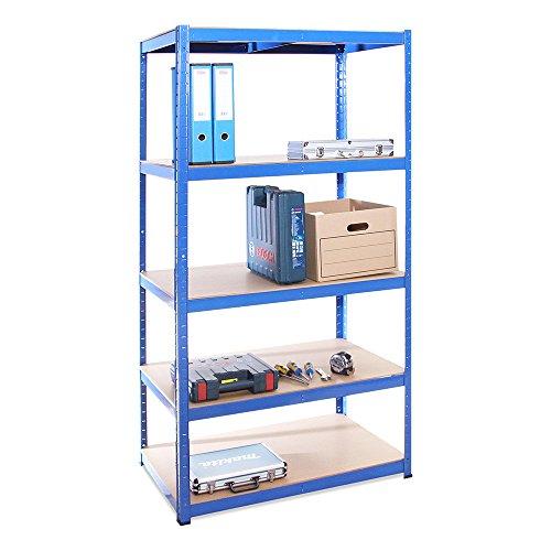 Scaffale per garage - scaffalatura - 180cm x 90cm x 60cm - blu - 5 ripiani (175kg a ripiano) - capacità di carico 875kg - 5 anni di garanzia