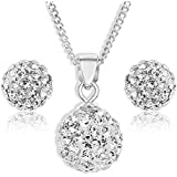 Ornami Jewellery Set with 0.925 Sterling Silver Crystal Ball Pendant, Earring and Chain of 46cm