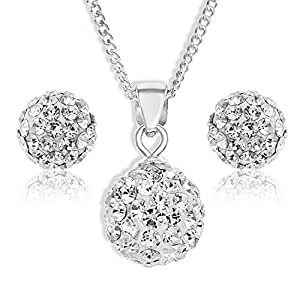 Ornami 0.925 Sterling Silver Crystal Ball Pendant and Earring Set with 46 cm Chain