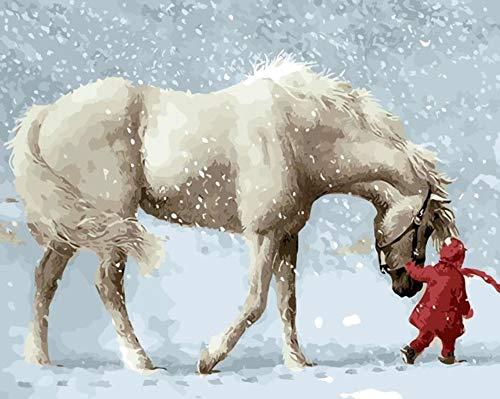 GCQBLM Malen nach Zahlen Malen nach Zahlen für Wohnkultur für Wohnzimmer Pferd im Schnee 16 x 20 Zoll Rahmenlos