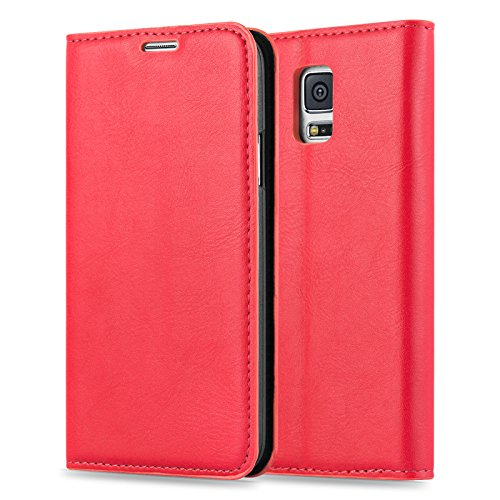 Samsung Galaxy S5 / S5 Neo / S5 Plus Lederhülle | JAMMYLIZARD Handyhülle [ Swiss Wallet ] Ledertasche Flip Case Cover Hülle Leder Schutzhülle, Tango Pink