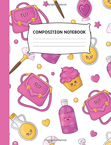 Preisvergleich Produktbild Composition Notebook: Purse Cupcake and Makeup Colorful Trendy Design Wide Ruled Notebook Journal