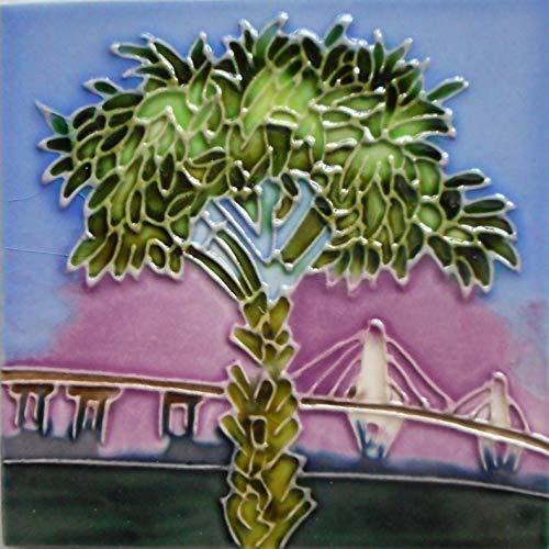 Cooper River Bridge and Palm Tree Ceramic Art Fliesenuntersetzer 10,2 x 10,2 cm Staffeleirückseite - Tile Bridge