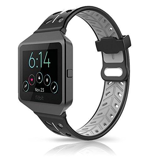 Fitbit Blaze Armband, YOUKESI Silikon Ersatzband Armband mit schwarzem Metallrahmen für Fitbit Blaze Smart Fitnessuhr Damen Herren (Schwarz / Grau)