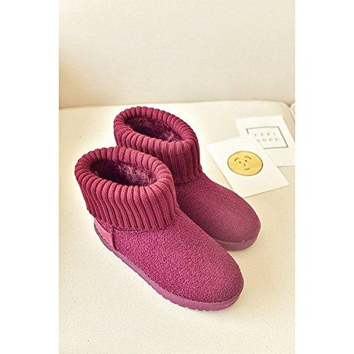 HSXZ Scarpe da donna in pelle scamosciata Winter Snow Boots stivali Null tacco basso punta tonda Mid-Calf Stivali / per Casual Borgogna Nero Grigio Black