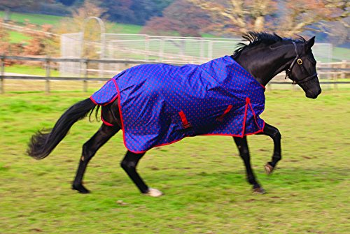 Rhinegold Dottie Torrent Lightweight Outdoor Horse Turnout Rug – Blue, 6.3-Inch