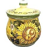 CERAMICHE D'ARTE PARRINI- Italienische Kunstkeramik, jar chili Dekoration Sonnenblume, handgemalt, hergestellt in Italien Toscana