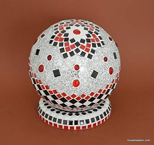Handgemachte Rosenkugel rot schwarz weiß spiegel 20 cm Durchmesser