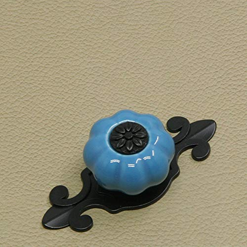 Behandeln 5 STÜCKE Kürbis Keramik Knöpfe Vintage Schranktür Schublade Schrank Kommode Stoßgriff Küchenmöbel Kinderzimmer (Color : Blue, Size : 32mm) -