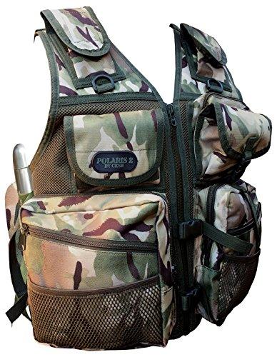 Cksn Gilet réglable avec plusieurs poches et housses Tour de taille 127-140 cm Fully Adjustable Olive/Desert Camo