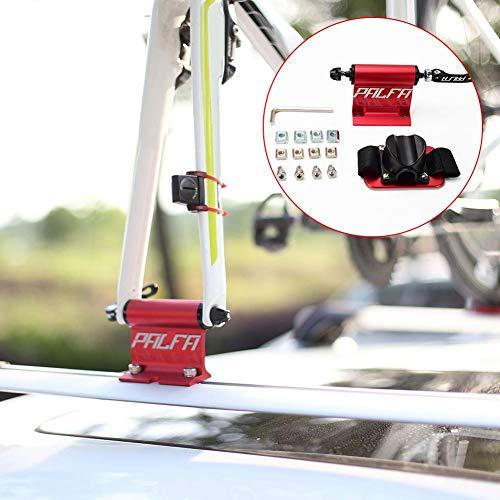 iBaste Dachträger Fahrradträger Dachgepäckträger Fahrradaufbewahrung Tragbar Alu-Dachträger universal mit Saugnapf für Mountain Bike Rennrad, Schnellmontage, Vakuumadsorption, Steif und fest, Rot