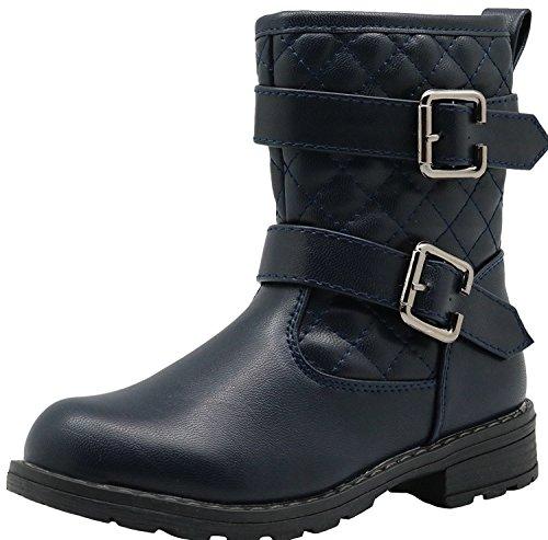 Kind Schuhe Mädchen Ankle Bootie Reiten Sneaker 2 Fastener Bands & Side Reißverschluss ( Color : Navy , Size : 30 EU ) (Mädchen Verkleiden Sich Schuhe)