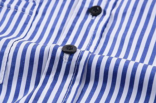 LaoZan Donna Elegante camicia a righe Manica 3/4 Scollo V Casual T-shirt Tops Blusa Tunica Camicetta Blu Bianca