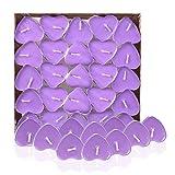Leisial 50 Stück Teelicht Set Kreative Kerze Romantisches Herz Teelicht Rauchfrei Teelicht für Geburtstag,Vorschlag,Hochzeit,Party,Lila