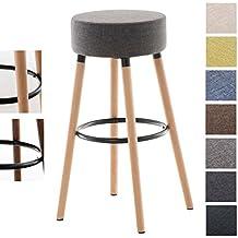 CLP taburete de bar KARL, altura del asiento 75 cm, revestimiento de tela, soporte de madera, reposapiés gris claro, color del soporte: natural