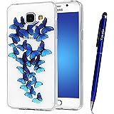 Coque Samsung Galaxy A3 / 2016, Yokata Case Transparente Motif Design Housse Kawaii Cartoon Étui Clair Soft Doux TPU Silicone Flexible Backcover Ultra Mince Crystal Coque + 1*Stylet - Blue Butterfly