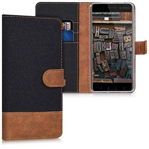 kwmobile Hülle für Nokia 6 - Wallet Case Handy Schutzhülle Kunstleder - Handycover Klapphülle mit Kartenfach und Ständer Schwarz Braun