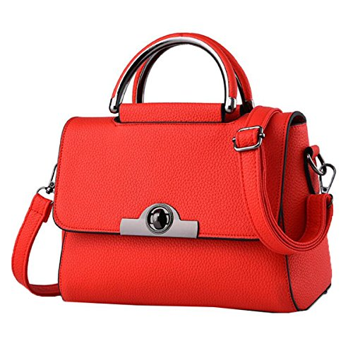 WU ZHI Ms. Kleine Quadratische Tasche PU Weiche Leder Schultertasche Messenger Bag Handtasche Red