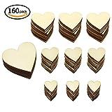 hysagtek 160Stück blanko Holz Herz Verzierungen Holz Herz Scheiben Scheiben für Hochzeiten, Valentinstag, Weihnachten, Karte machen, DIY Arts Crafts (4Größen)