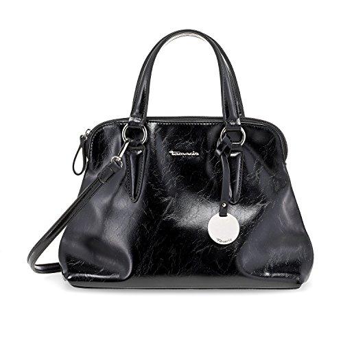 TAMARIS NEVE Damen Handtasche, Handbag, Henkeltasche, 36x30x12 cm (B x H x T), 6 Farben: silver, sand, brick, rose, taupe snake oder schwarz schwarz