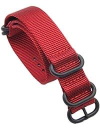 24mm Rojo Nylon Duradero de la NATO Bandas Militares Pulseras para Relojes de Estilo reemplazos para los Hombres