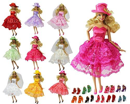 ZITA ELEMENT Spitze Rock Abend Partei Outfit für Barbie Doll Zufälliger Stil,11 Artikel = 3 Fashion Sommer Party Wear Kleidung Minirock+5 Paar Schuhe + 3 Stück Hut / Schleier (Hochzeit Für 18 Puppen Zoll Kleid)