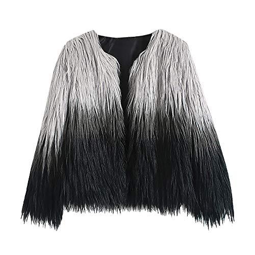 Yvelands Abrigos de Piel para Mujer y Talla Grande, Chaqueta de gradiente de Piel sintética para Mujer Ropa de Abrigo de Invierno Artificial(Negro,XXL)