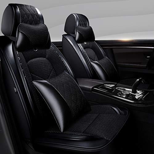 Y&Jack Full Set Universal Fit 5 Sitze Auto 3D Umgeben Wasserdicht Pu Leder und Atmungsaktiv Künstliche Seide Autositzbezüge Borte mit festen Lendenkissen für Sedan SUV,C