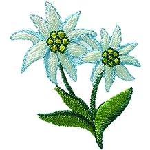 Parches - EDELWEISS flor niños - verde - 5,3x4cm - termoadhesivos bordados aplique para ropa
