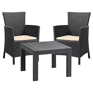 Allibert by Keter Rosario Outdoor 2 Seat Rattan Balcony Garden Furniture Set - Graphite with Cream Cushions