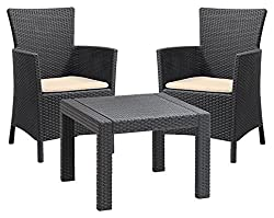 Keter Allibert Rosario Outdoor 2 Seat Rattan Balcony Garden Furniture Set - Graphite with Cream Cushions