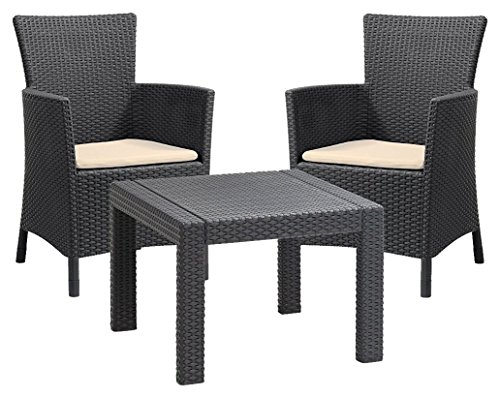 Allibert by Keter Rosario Outdoor 2 Seat Rattan Balcony Garden Furniture Set - Graphite with Cream Cushions