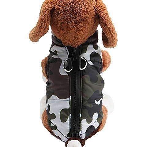 Scheppend Moda otoño Invierno cálido mascota Perro Chaleco Pequeño Perros Copa,camuflaje M