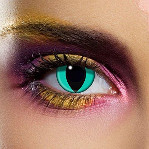 insen | Blaue Katzen Augen| Perfekt für Halloween oder Karneval | 1-Tageslinsen | Top-Qualität | 82807 (Katzen Augen Halloween)