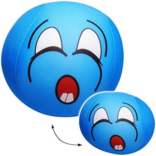 alles-meine.de GmbH 1 Stück _ große Knautschkissen / Stoffball / Knautschball -  lustiges Gesicht - BLAU  - 18 cm - Softball - Emoticon Ball / Zenball - Plüschtier - mit Mikrop..